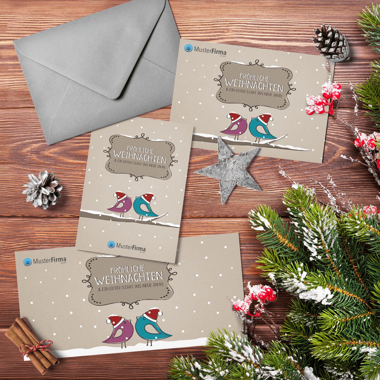 """Kartendesign-32 """"Schnee-Vögel"""""""