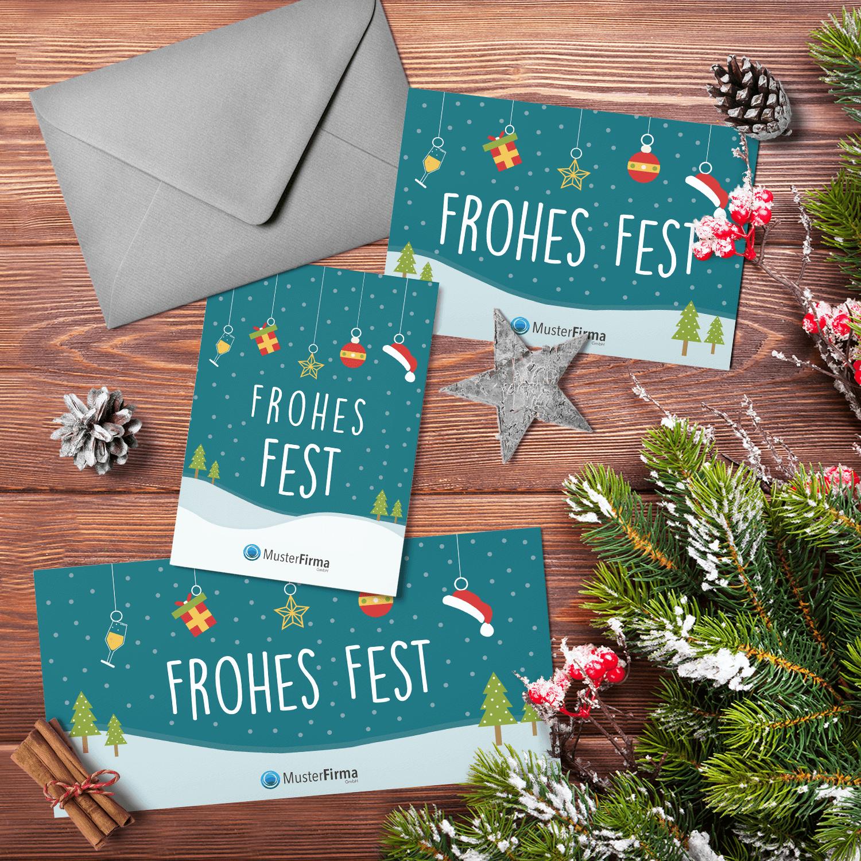 """Kartendesign-33 """"Weihnachtsschmuck-im-Schnee"""""""