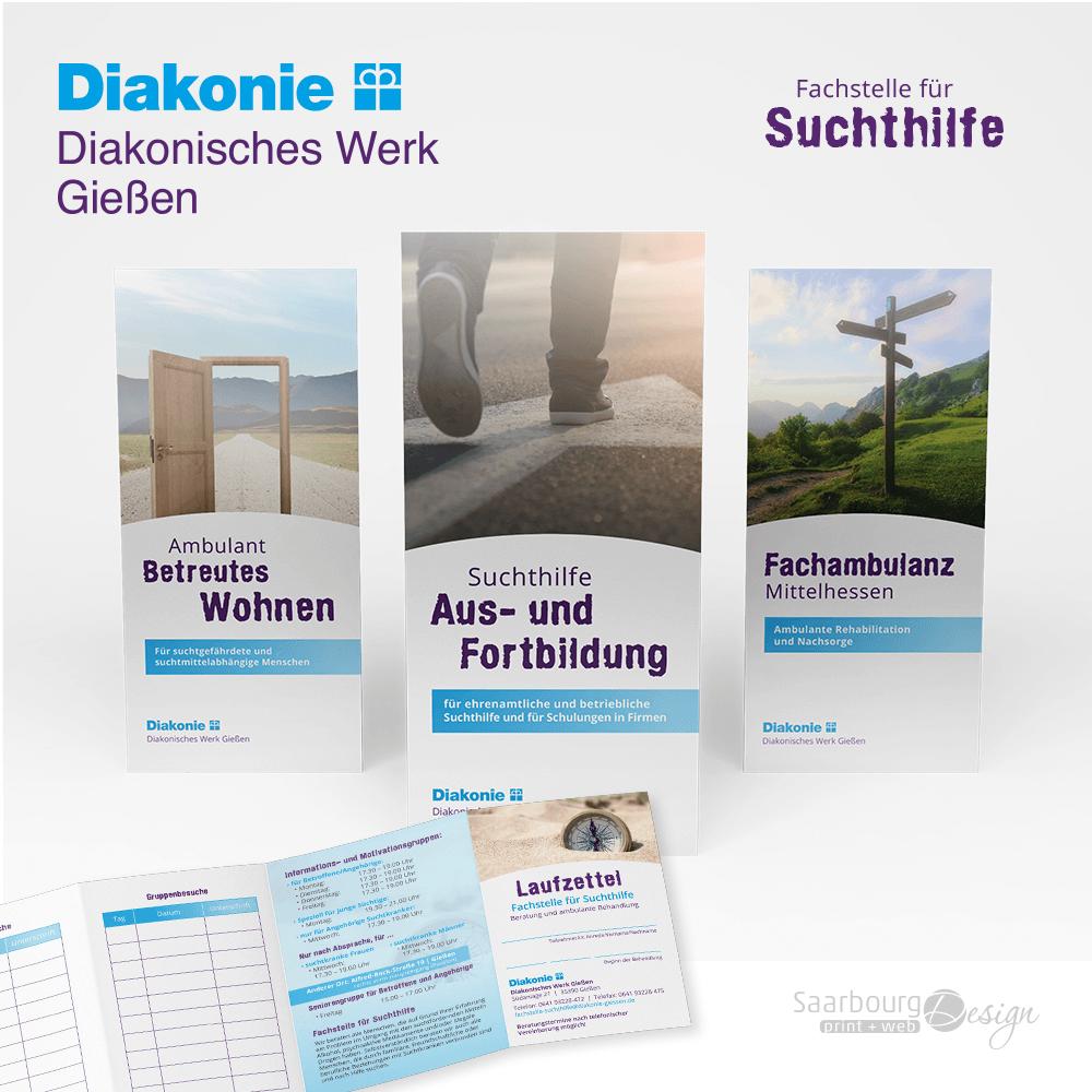 Darstellung von 3 Flyern der Fachstelle für Suchthilfe der Diakonie Gießen