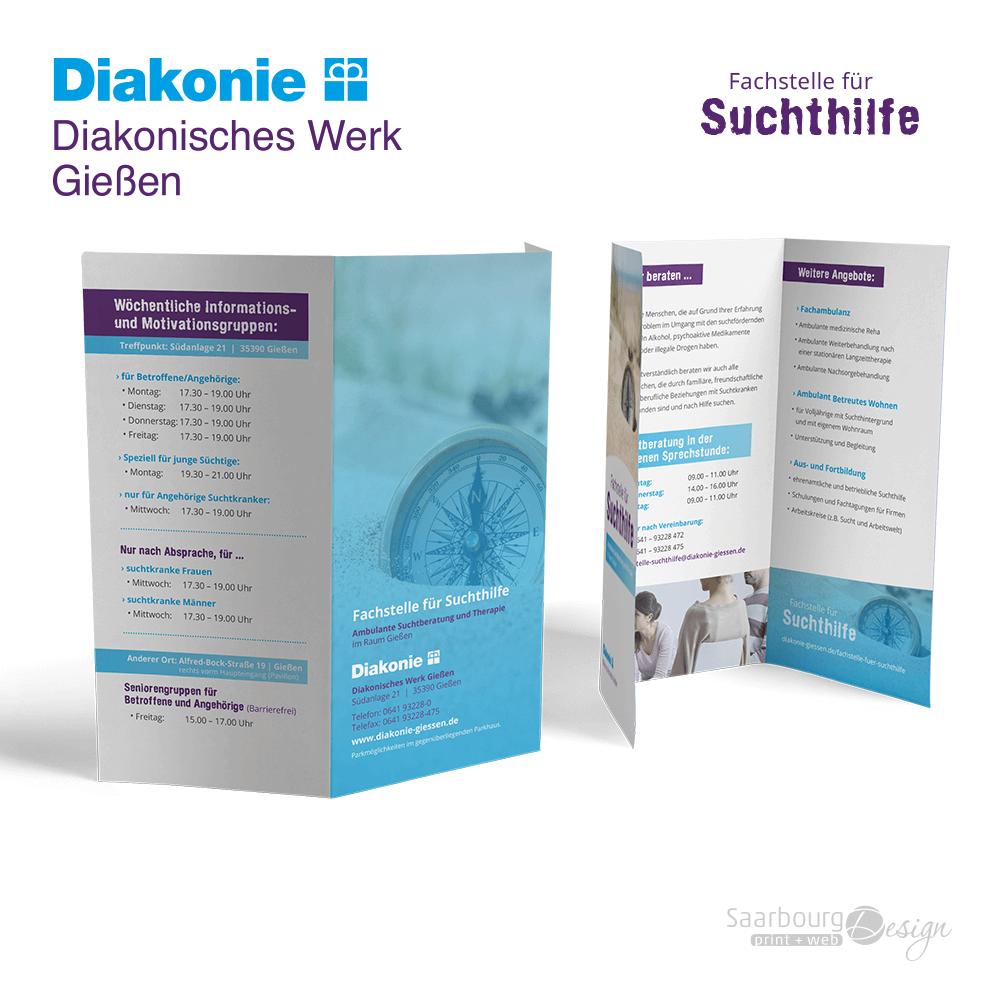 Darstellung eines 6-seitigen Flyers der Fachstelle für Suchthilfe der Diakonie Gießen