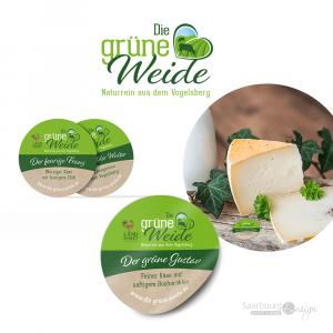 Darstellung von Käse-Etiketten von der grünen Weide