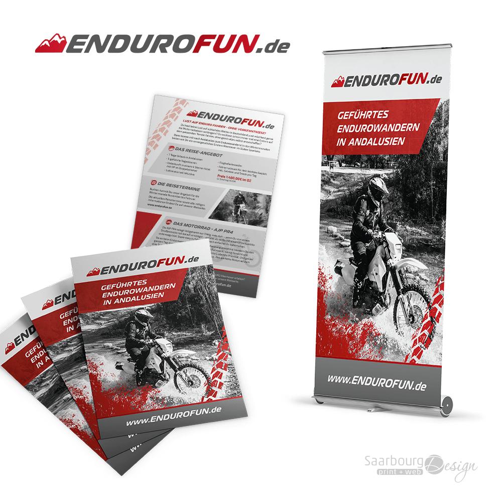 Darstellung von Flyer und RollUp von Endurofun.de