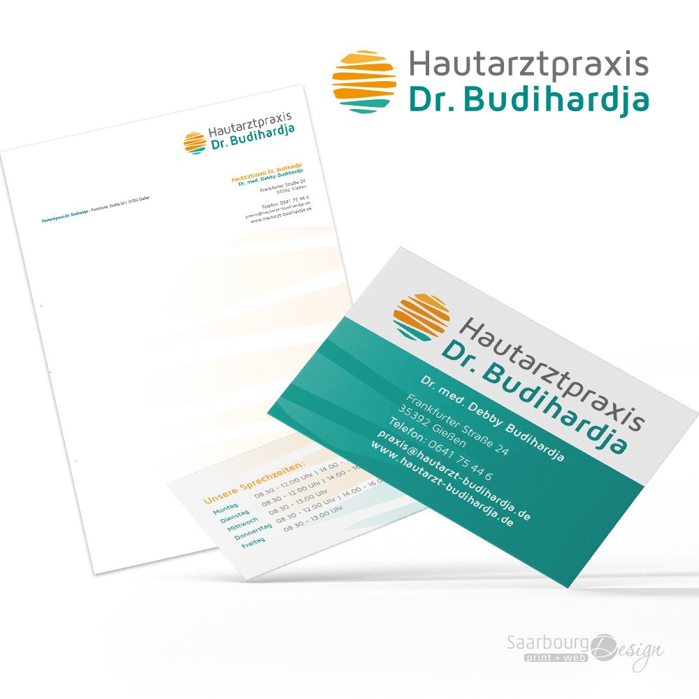 Darstellung der Geschäftsausstattung der Hautarztpraxis Dr. Budihardja in Gießen