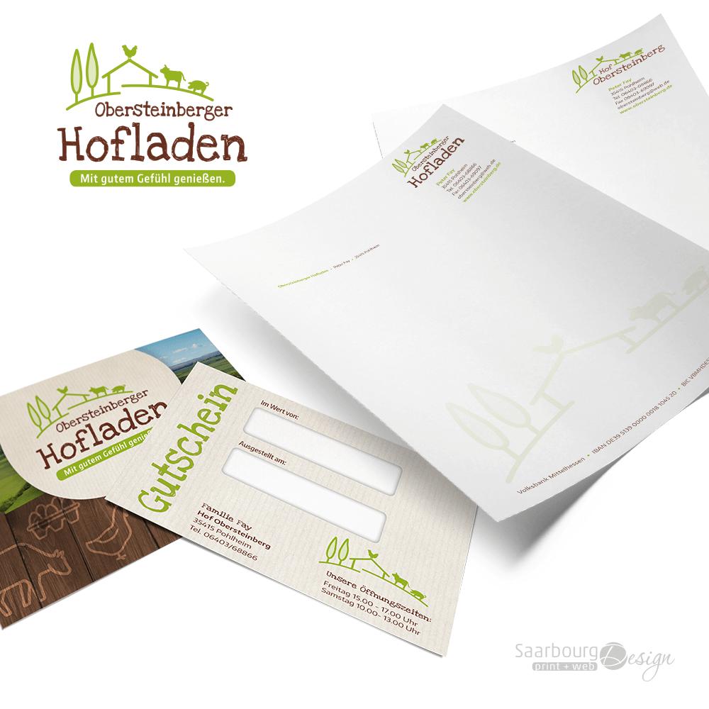 Darstellung von Gutschein und Briefpapier des Obersteinberger Hofladen Pohlheim
