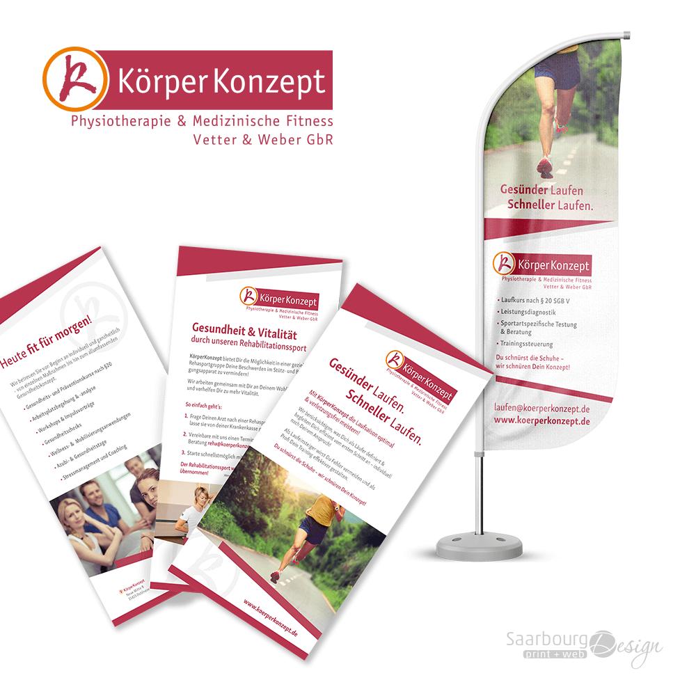 Darstellung von Flyer und Beachflag - Physiotherapie & Medizinische Fitness KörperKonzept