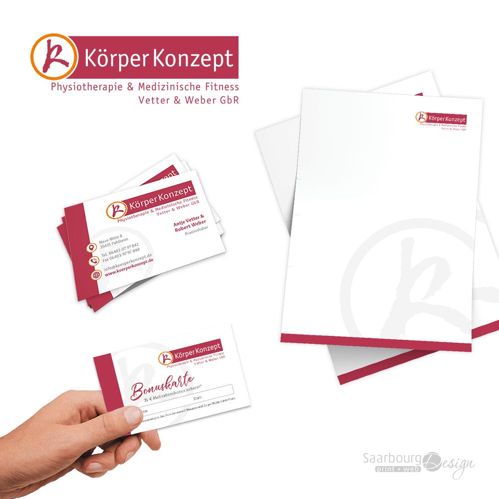 Darstellung von isitenkarten, Briefpapier und Bonuskarte - Physiotherapie & Medizinische Fitness KörperKonzept