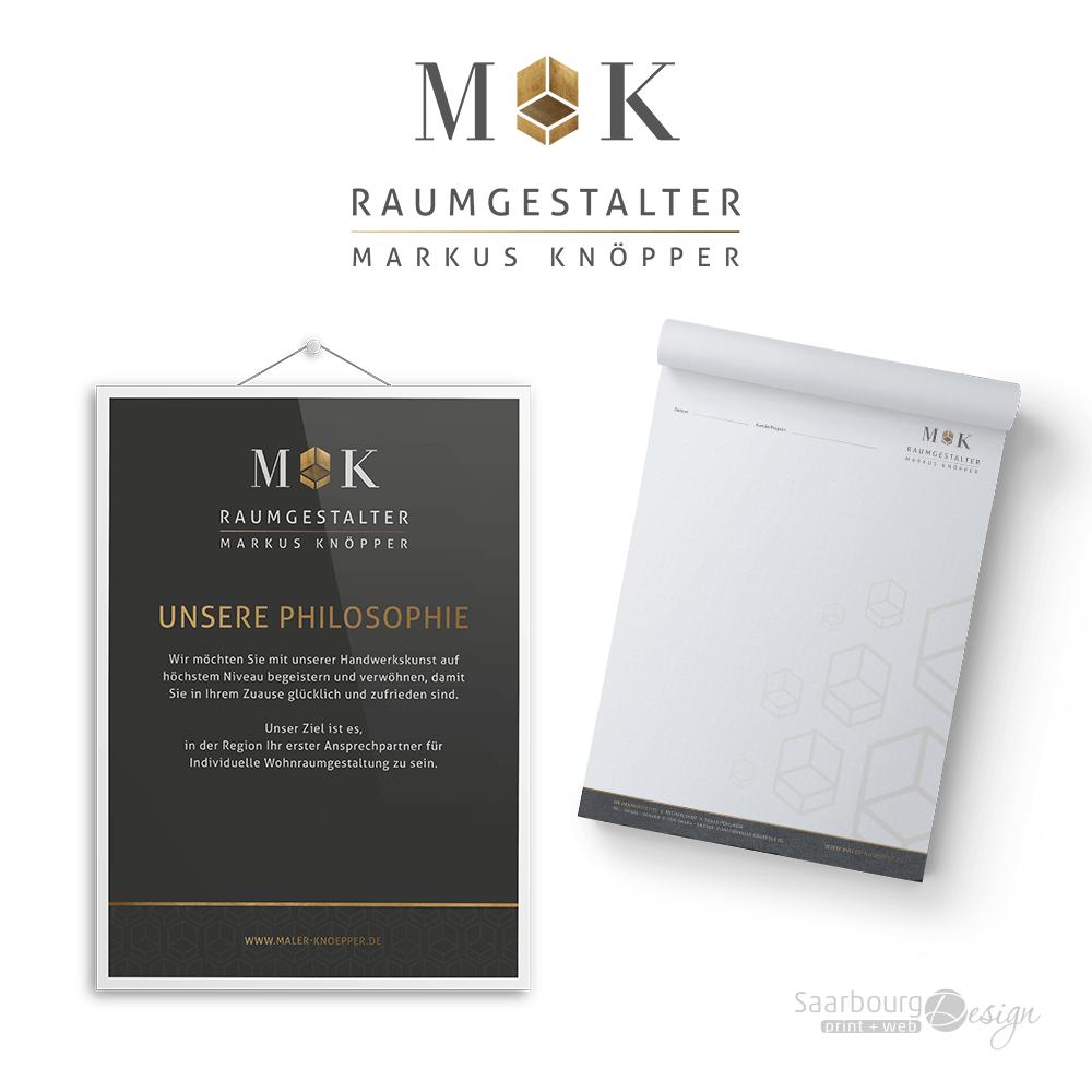 Darstellung Plakat und Schreibblock von MK Raumgestalter