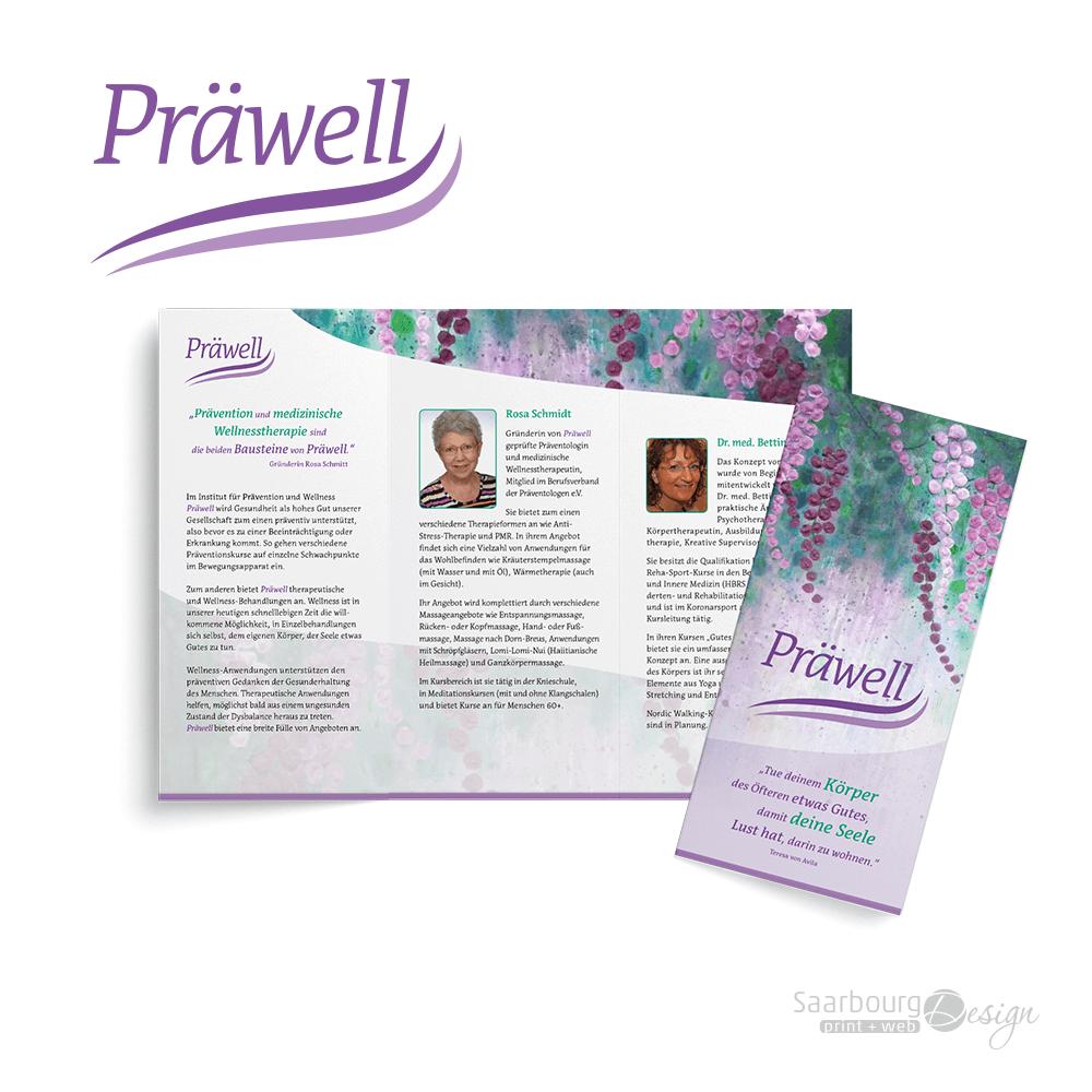 Darstellung eines 6-seitigen Infoflyers von Praewell - Institut für Prävention & Wellness