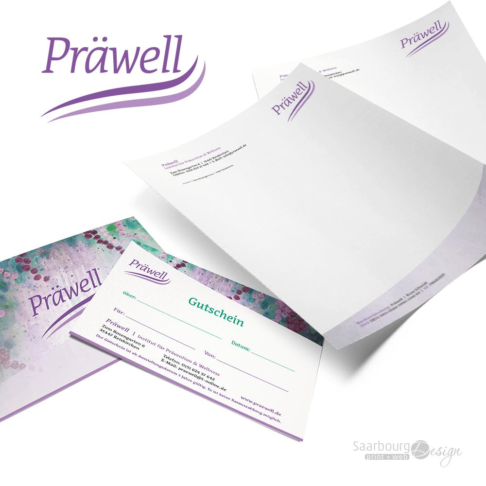 Darstellung von Gutschein und Briefpapier von Praewell - Institut für Prävention & Wellness