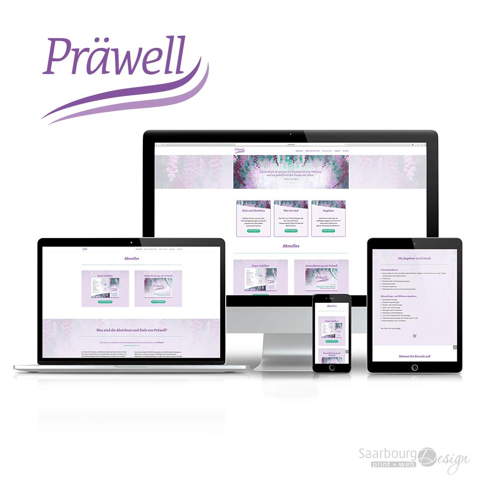 Darstellung der Webseite: www.praewell.de