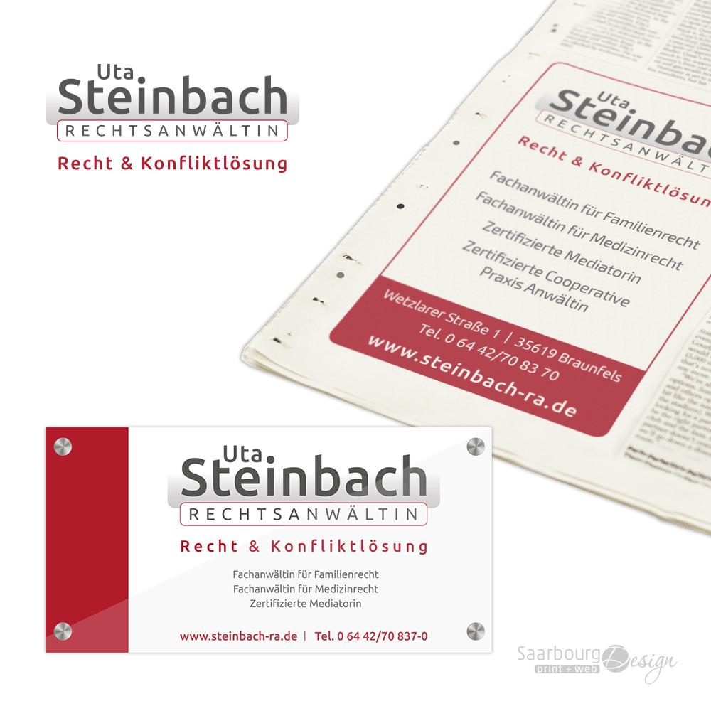 Darstellung von Firmenschild und Zeitungsanzeige der Rechtsanwältin Uta Steinbach