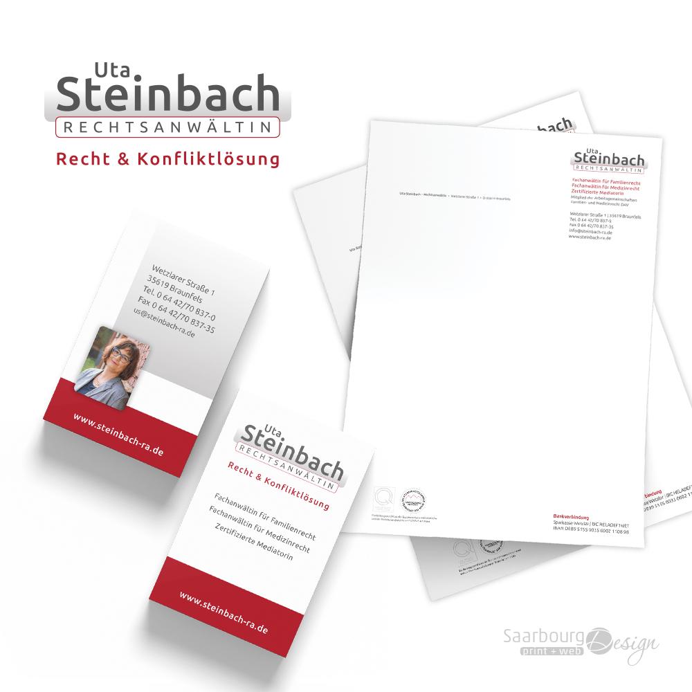 Darstellung von Visitenkarten und Briefpapier der Rechtsanwältin Uta Steinbach