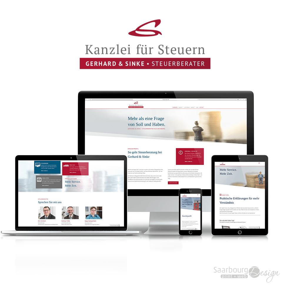 Darstellung de Webseite: www.gsp-steuern.de
