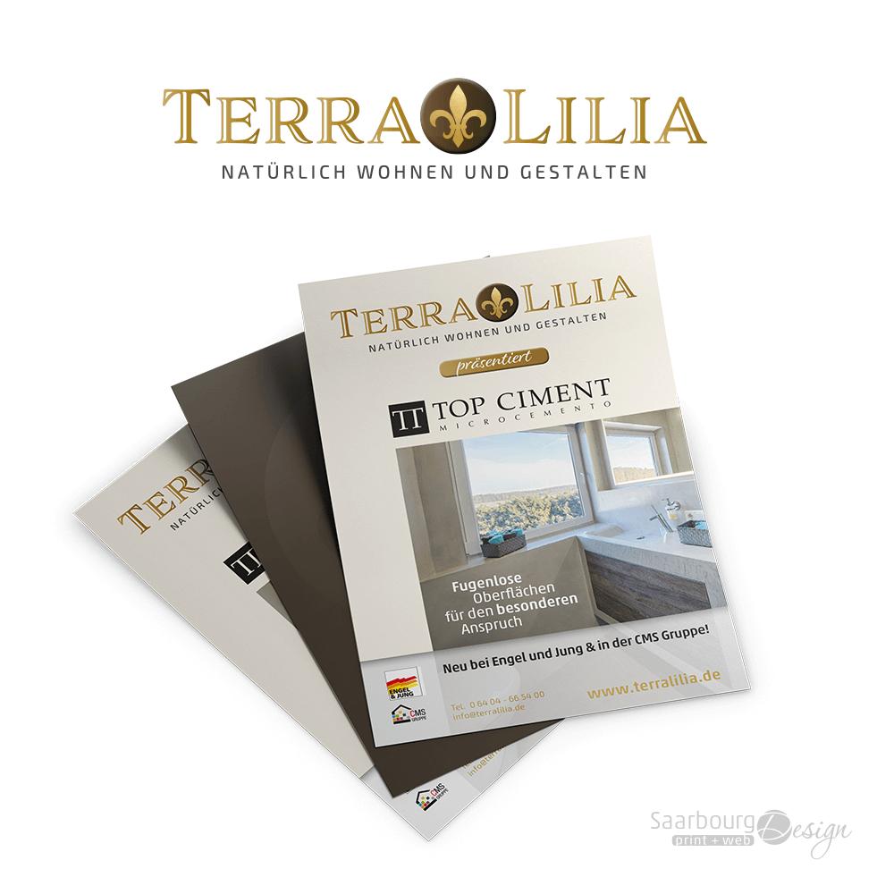 Darstellung eines Flyers von TerrraLilia - Natürlich Wohnen und Gestalten