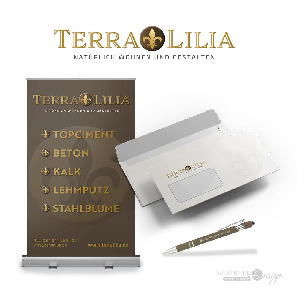 Darstellung von RollUp, Briefumschläge und Kuli von TerraLilia- Natürlich Wohnen und Gestalten