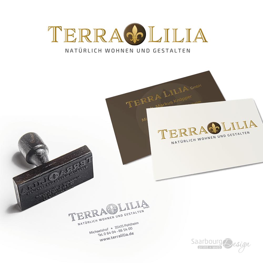Darstellung von Stempele und Visitenkarten von TerraLilia- Natürlich Wohnen und Gestalten