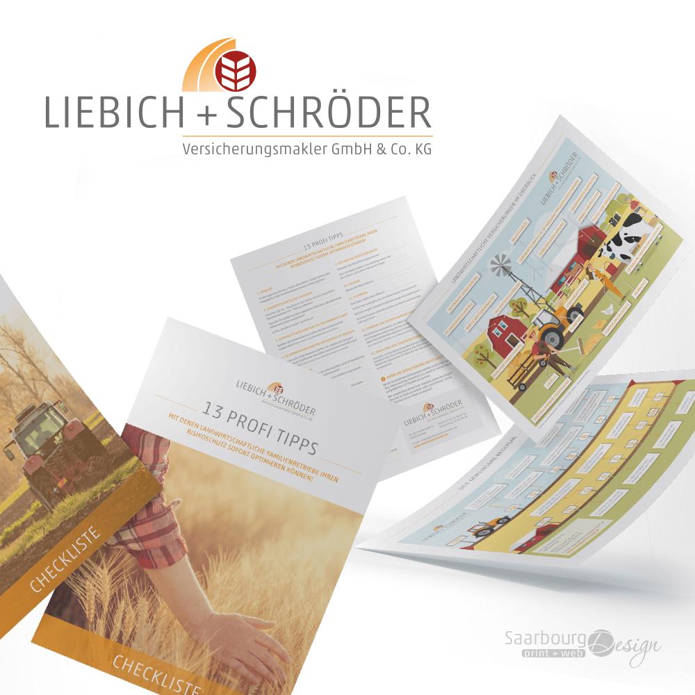 Darstellung von Checklisten und Schaubildern der Versicherungsmakler Liebich + Schröder