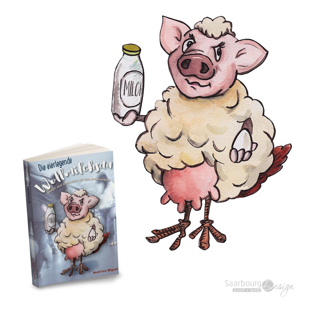 Darstellung einer Buchcover Illustration: Die eierlegende Wollmilchsau